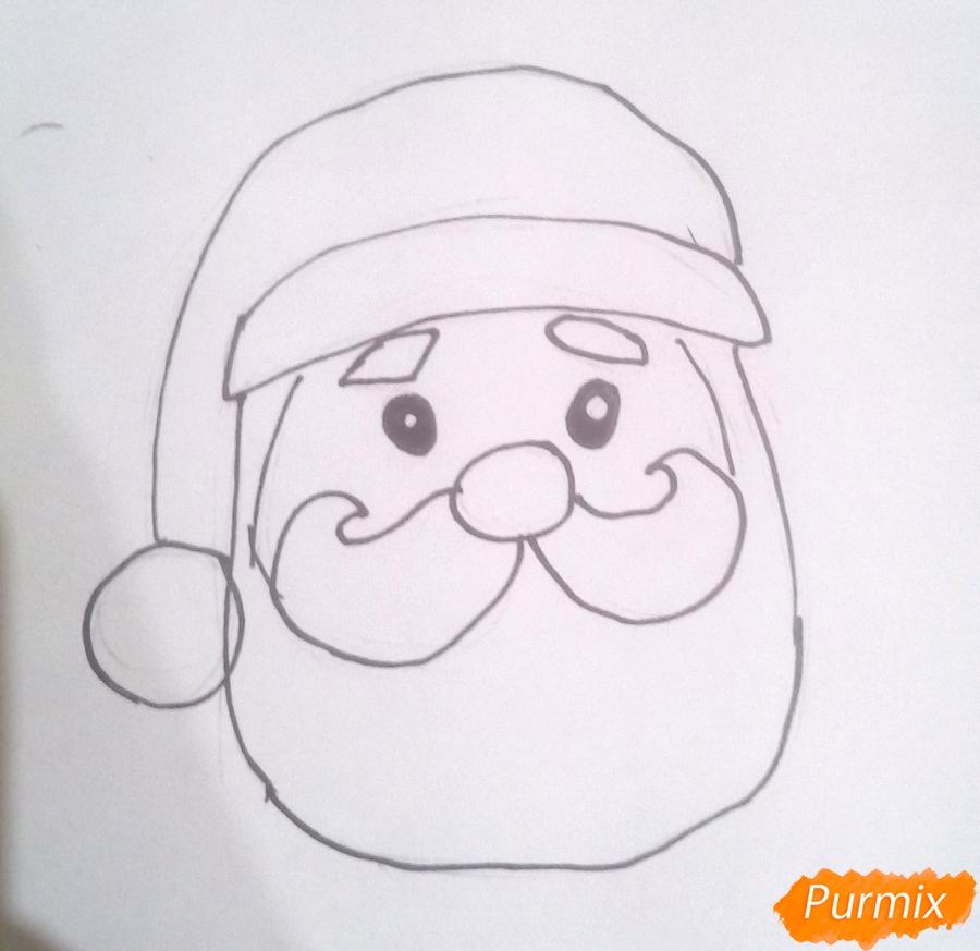 Рисуем голову милого Деда Мороза - шаг 4