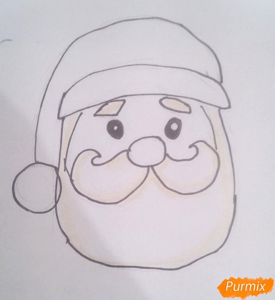 Рисуем голову милого Деда Мороза - шаг 5