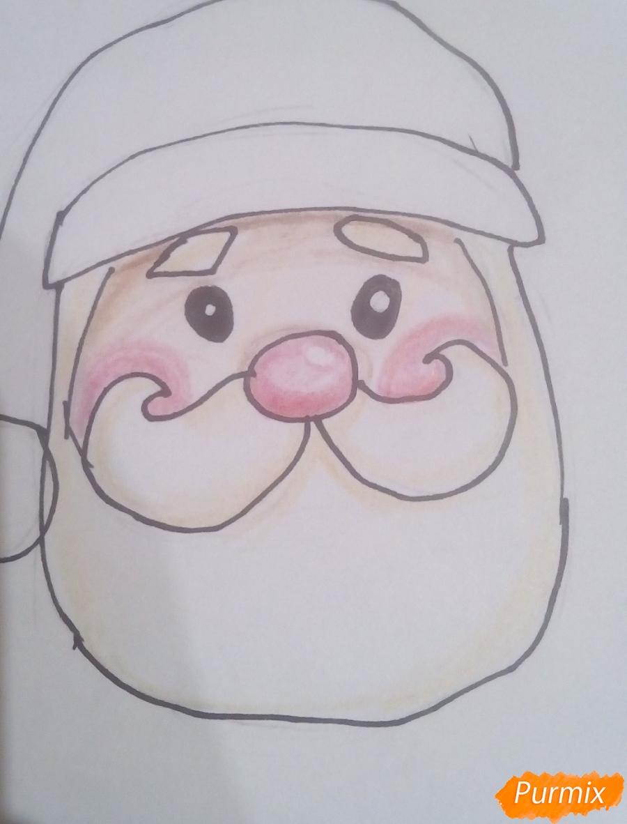 Рисуем голову милого Деда Мороза - шаг 6