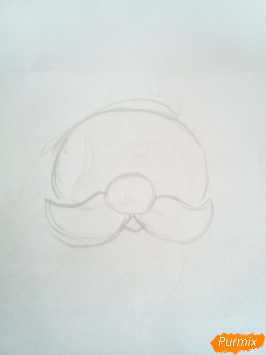 Рисуем голову милого Дедушки Мороза детям - шаг 1
