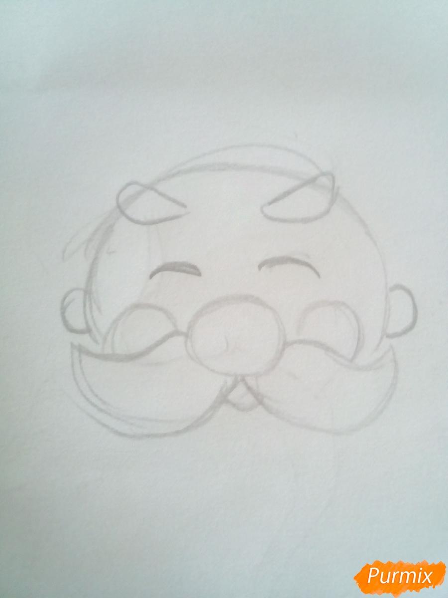 Рисуем голову милого Дедушки Мороза детям - шаг 2