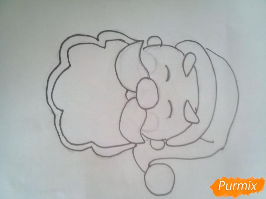 Рисуем голову милого Дедушки Мороза детям - шаг 4