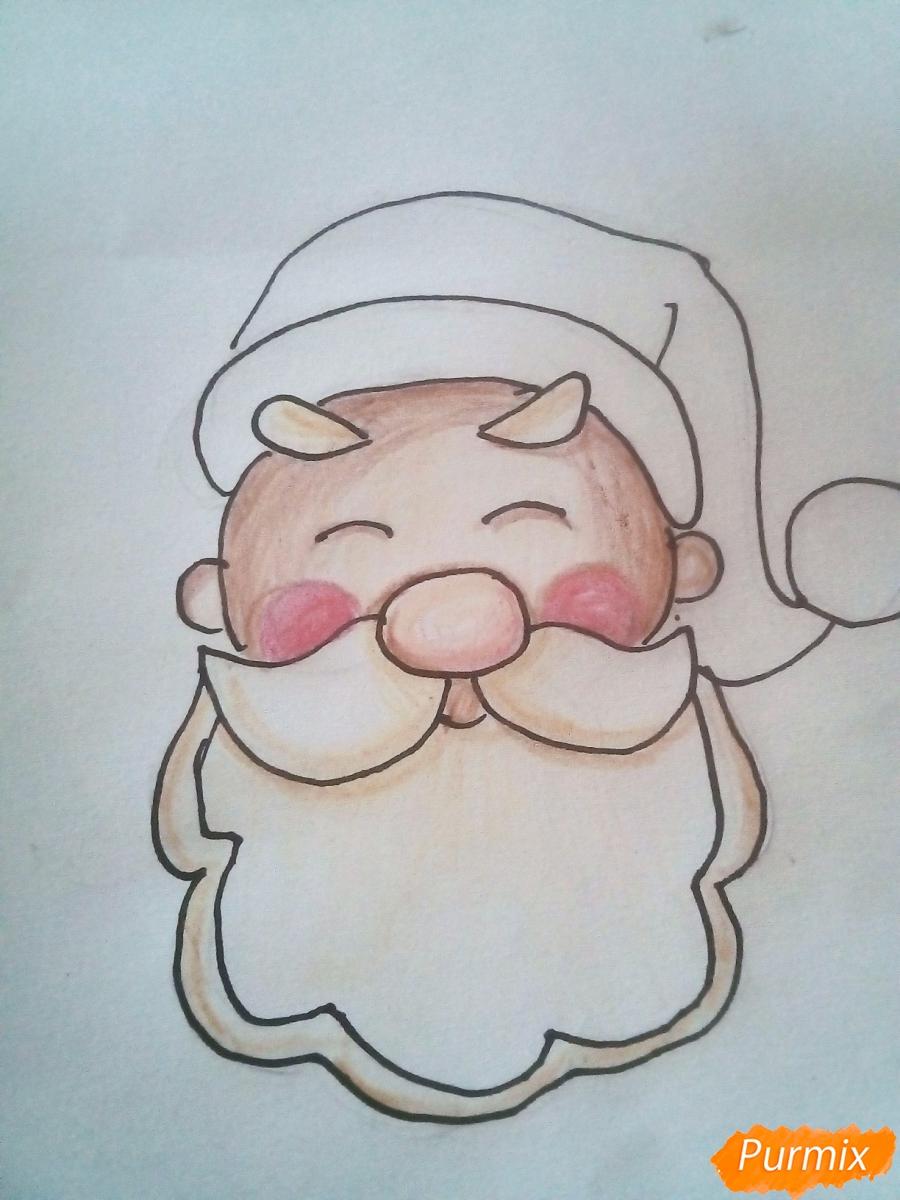 Рисуем голову милого Дедушки Мороза детям - шаг 7