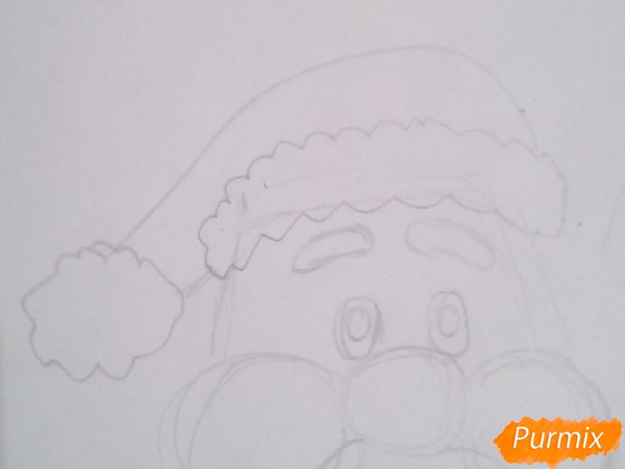 Рисуем голову мультяшного Деда Мороза - шаг 3