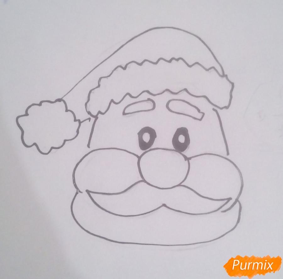 Рисуем голову мультяшного Деда Мороза - шаг 4