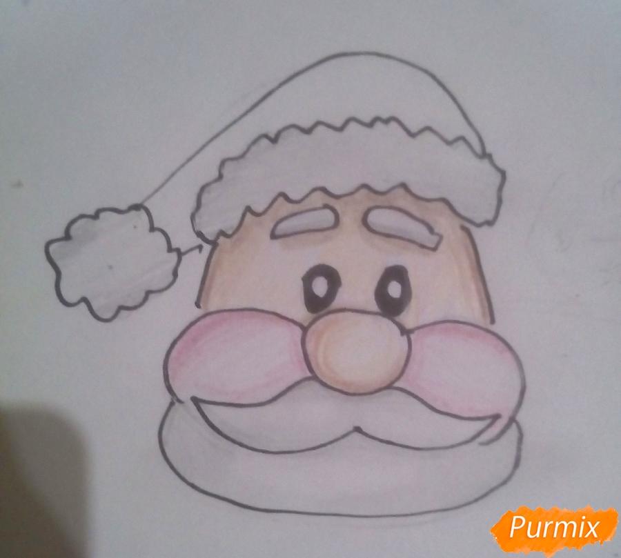 Рисуем голову мультяшного Деда Мороза - шаг 6