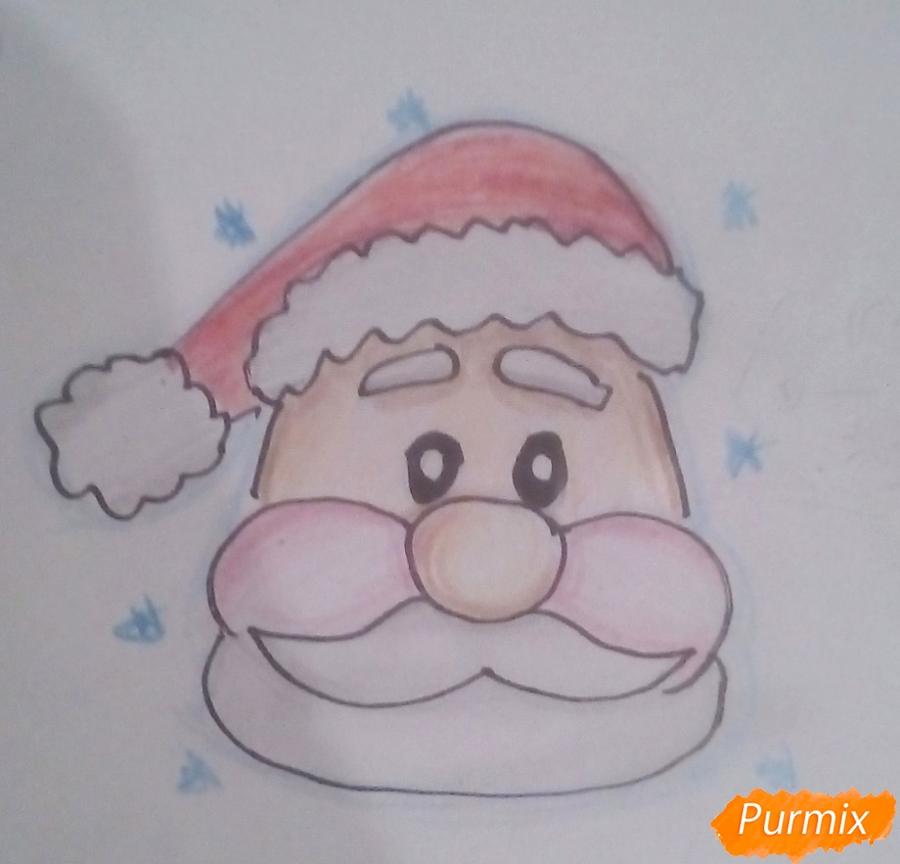 Рисуем голову мультяшного Деда Мороза - шаг 7