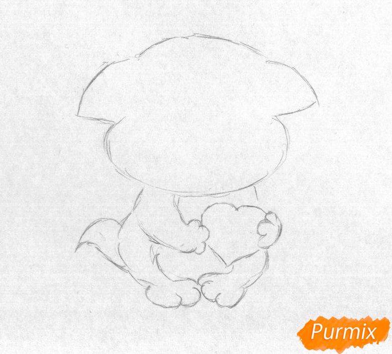 Рисуем котёнка с сердечком на День святого Валентина - шаг 1