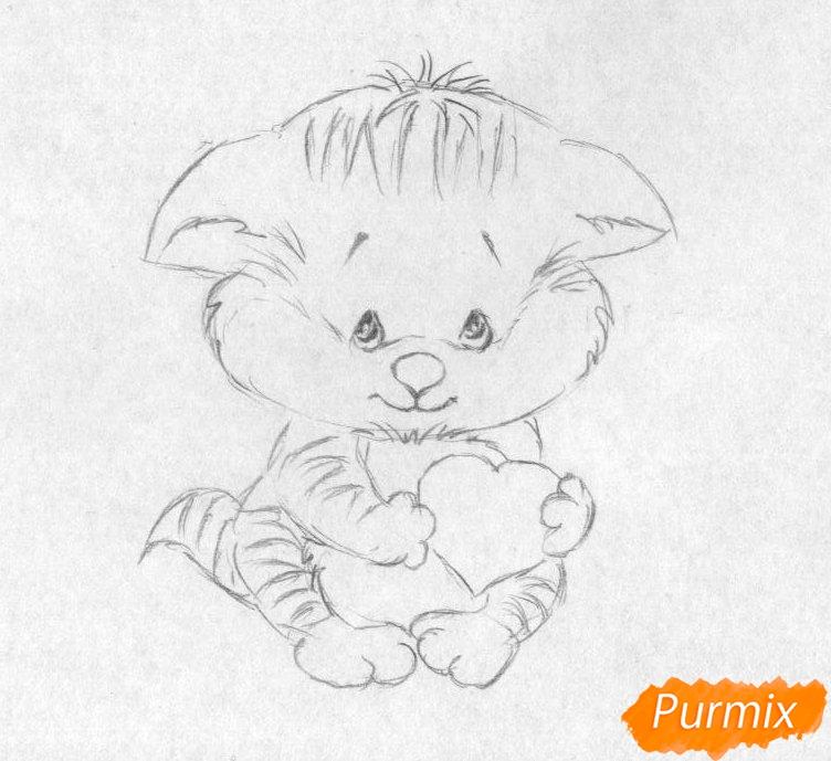 Рисуем котёнка с сердечком на День святого Валентина - шаг 2