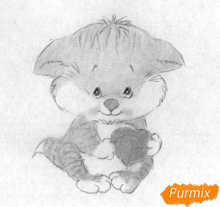 Рисуем котёнка с сердечком на День святого Валентина - шаг 3