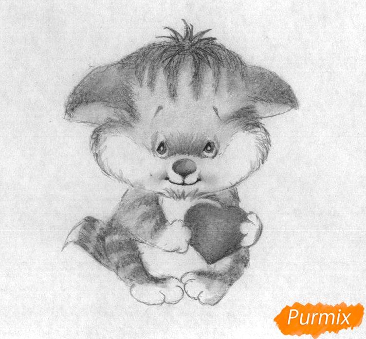 Рисуем котёнка с сердечком на День святого Валентина - шаг 4