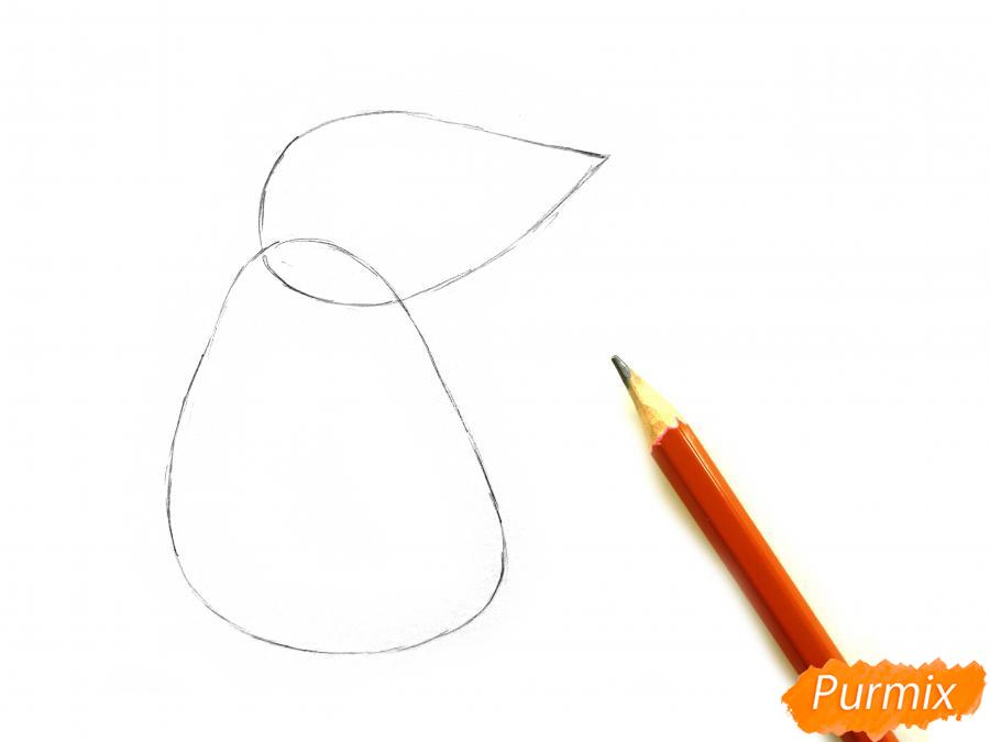 Рисуем крысу с елочным шариком и шапкой-колпаком - шаг 1
