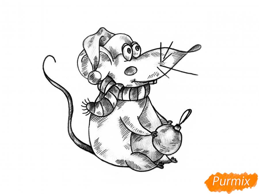Рисуем крысу с елочным шариком и шапкой-колпаком - шаг 11