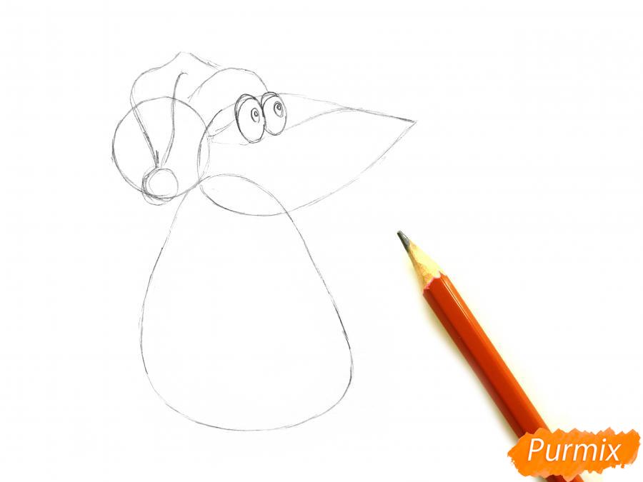 Рисуем крысу с елочным шариком и шапкой-колпаком - шаг 2
