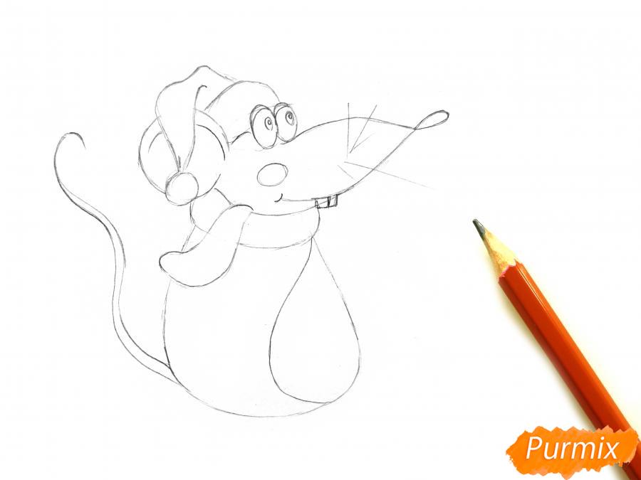 Рисуем крысу с елочным шариком и шапкой-колпаком - шаг 4