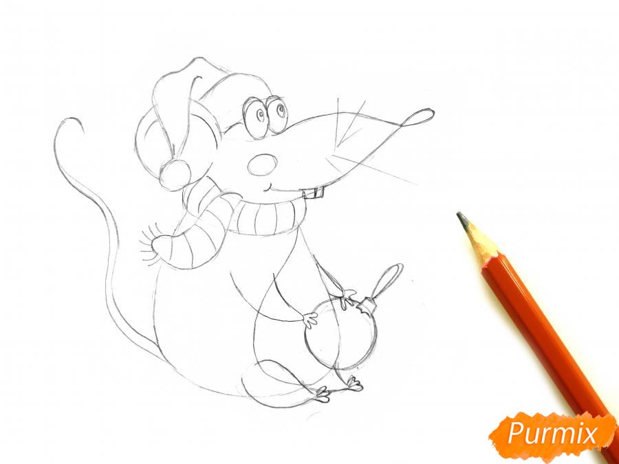 Рисуем крысу с елочным шариком и шапкой-колпаком - шаг 5