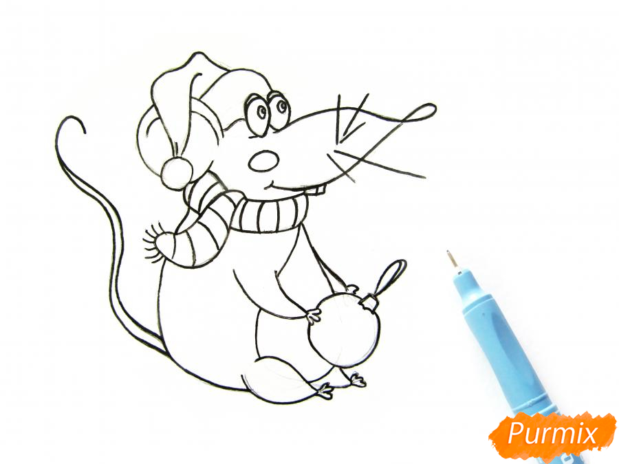 Рисуем крысу с елочным шариком и шапкой-колпаком - шаг 6
