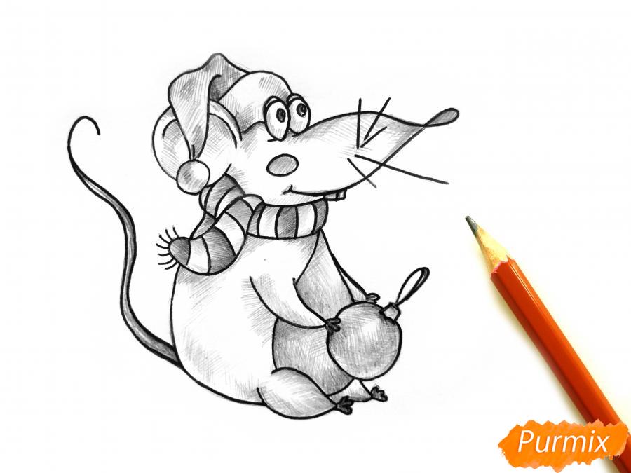 Рисуем крысу с елочным шариком и шапкой-колпаком - шаг 9