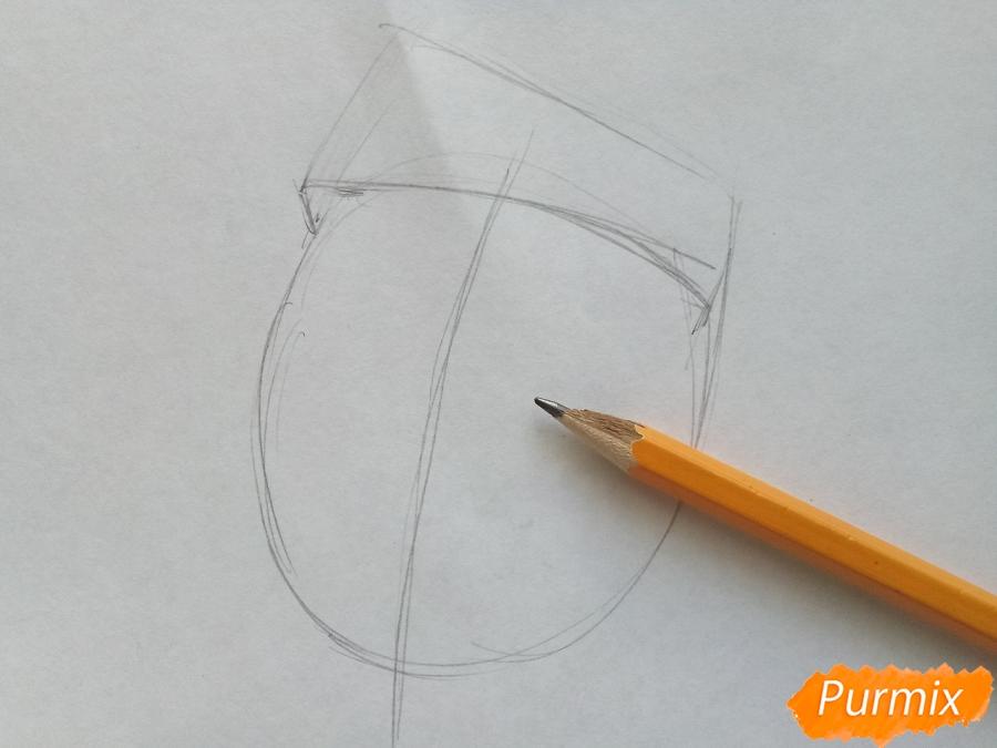 Рисуем лицо, голову Деда Мороза - шаг 1