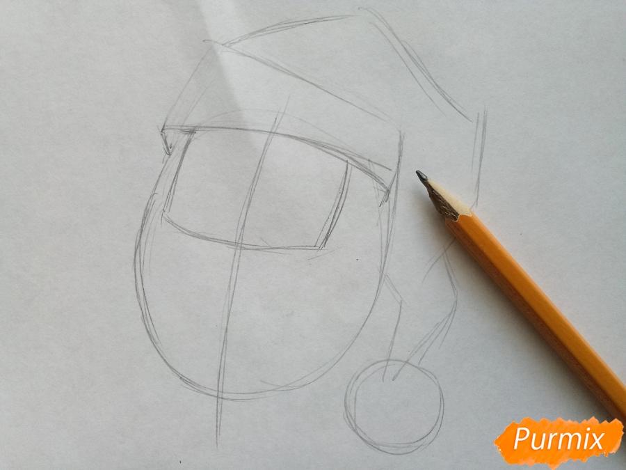 Рисуем лицо, голову Деда Мороза - шаг 2