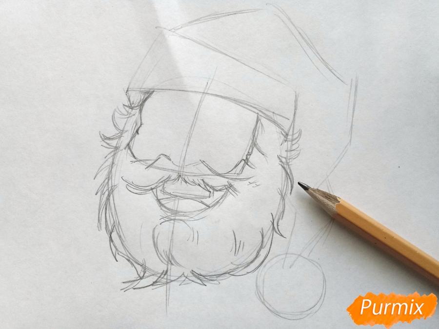 Рисуем лицо, голову Деда Мороза - шаг 3