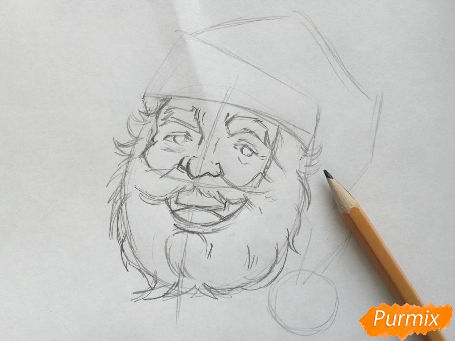 Рисуем лицо, голову Деда Мороза - шаг 4