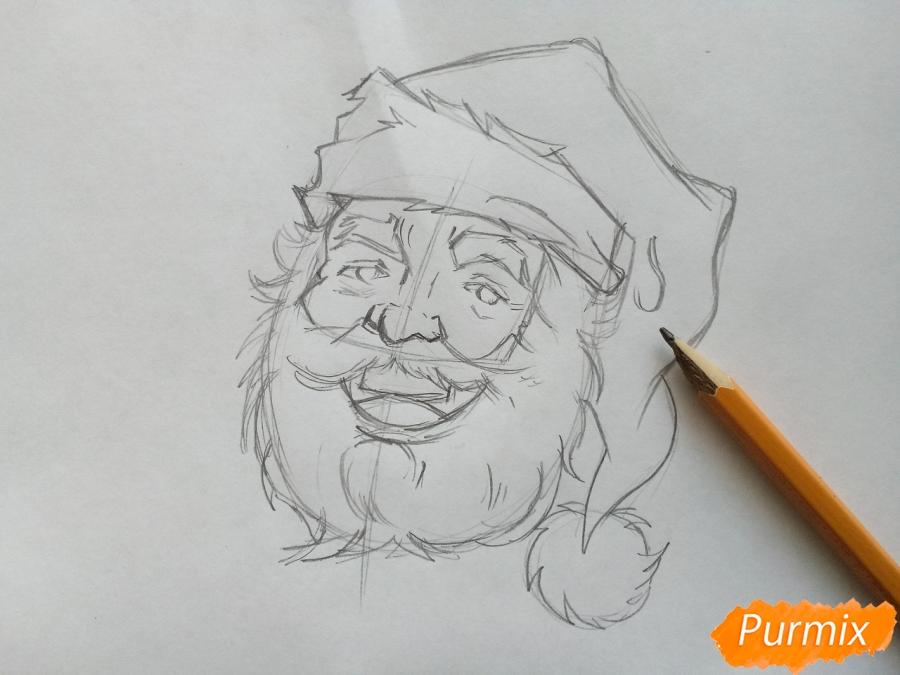 Рисуем лицо, голову Деда Мороза - шаг 5