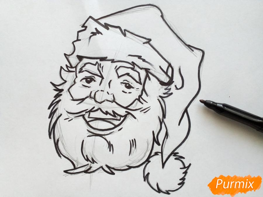 Рисуем лицо, голову Деда Мороза - шаг 6
