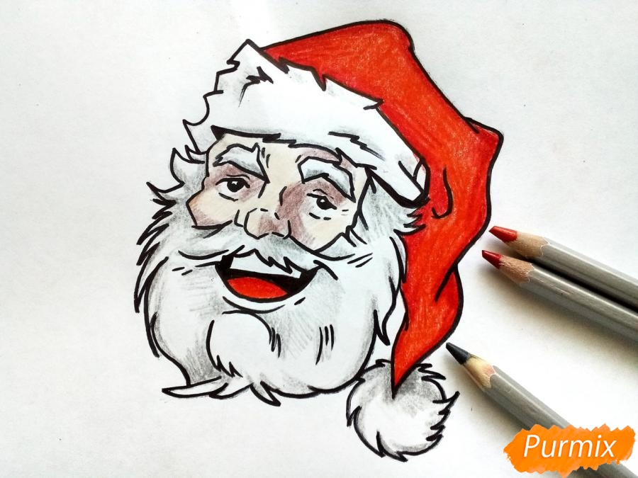 Рисуем лицо, голову Деда Мороза - шаг 8