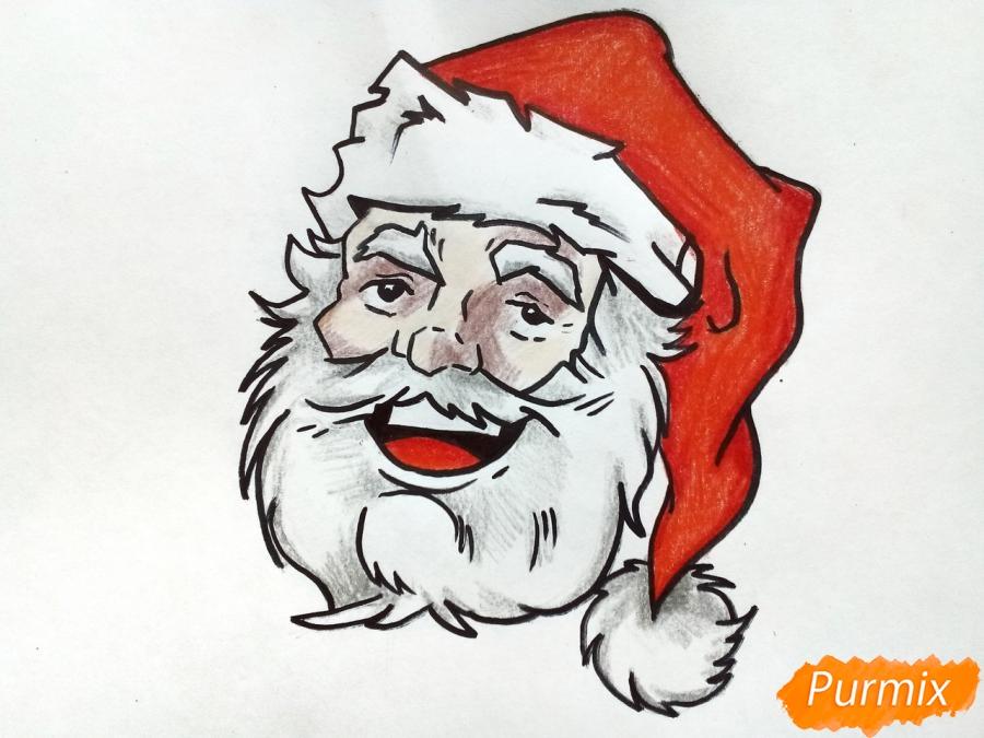 Рисуем лицо, голову Деда Мороза - шаг 9