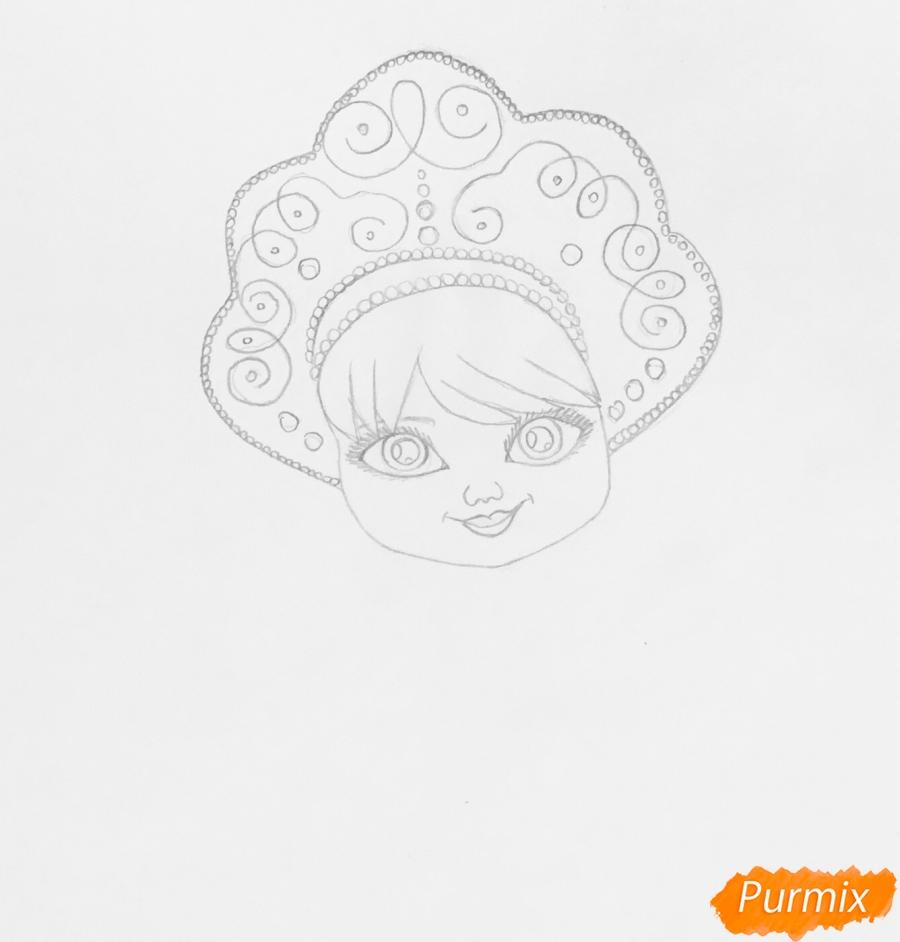 Рисуем милую снегурочку с игрушечным мишкой в руках - шаг 3