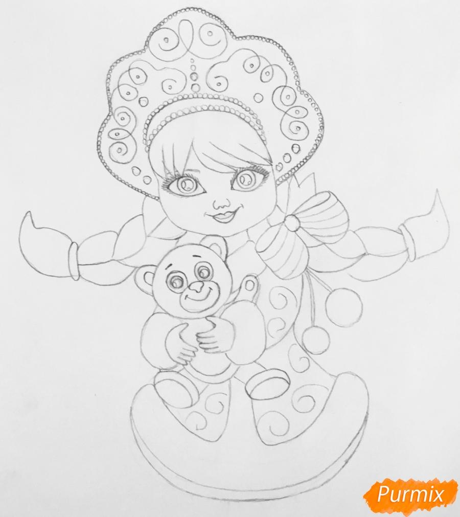 Рисуем милую снегурочку с игрушечным мишкой в руках - шаг 6