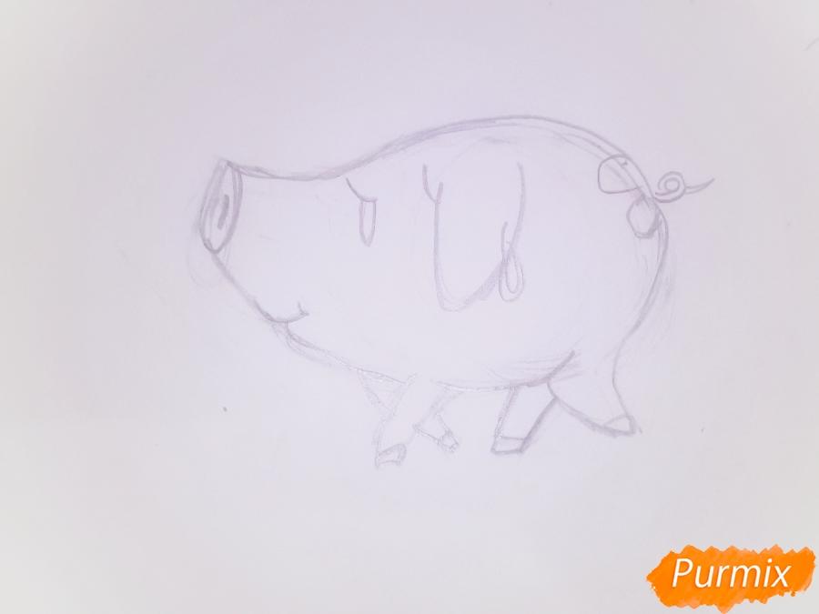 Рисуем милую свинку в новогодней шапочке символ нового 2019 года - шаг 2