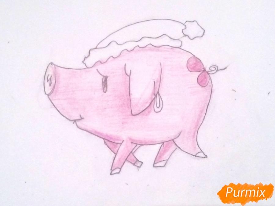 Рисуем милую свинку в новогодней шапочке символ нового 2019 года - шаг 5