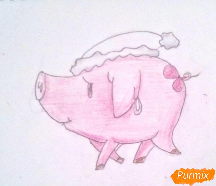 Рисуем милую свинку в новогодней шапочке символ нового 2019 года - шаг 6