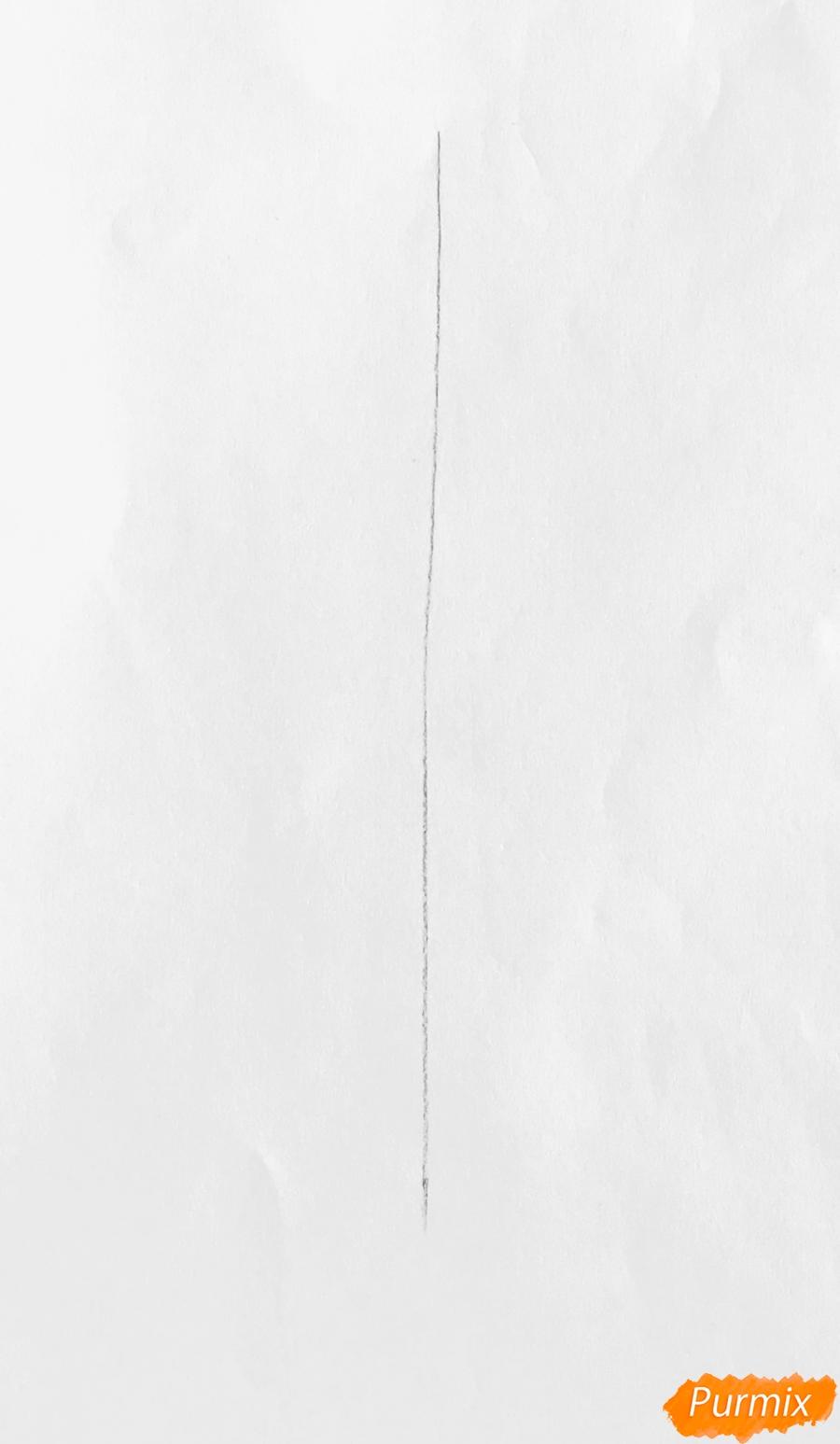 Рисуем новогоднюю ёлку с колокольчиками - шаг 1