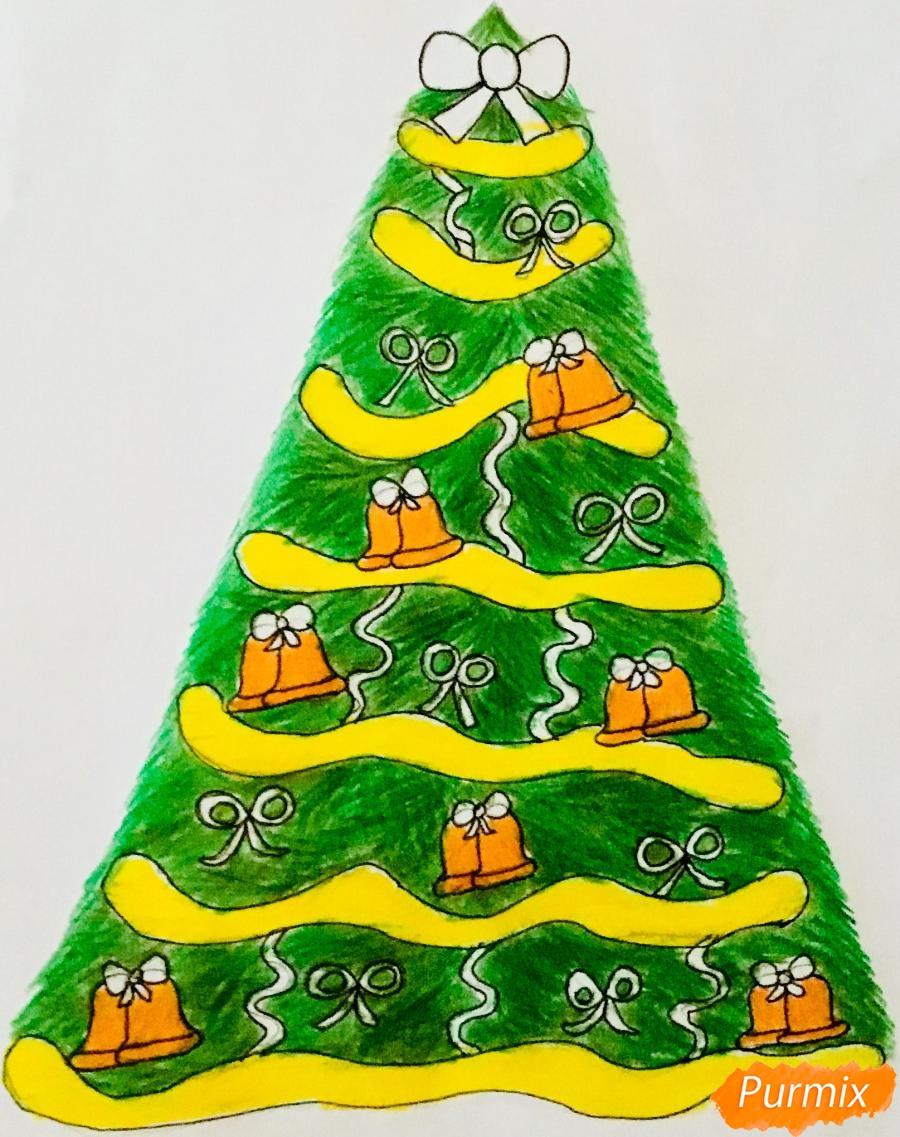 Рисуем новогоднюю ёлку с колокольчиками - шаг 11