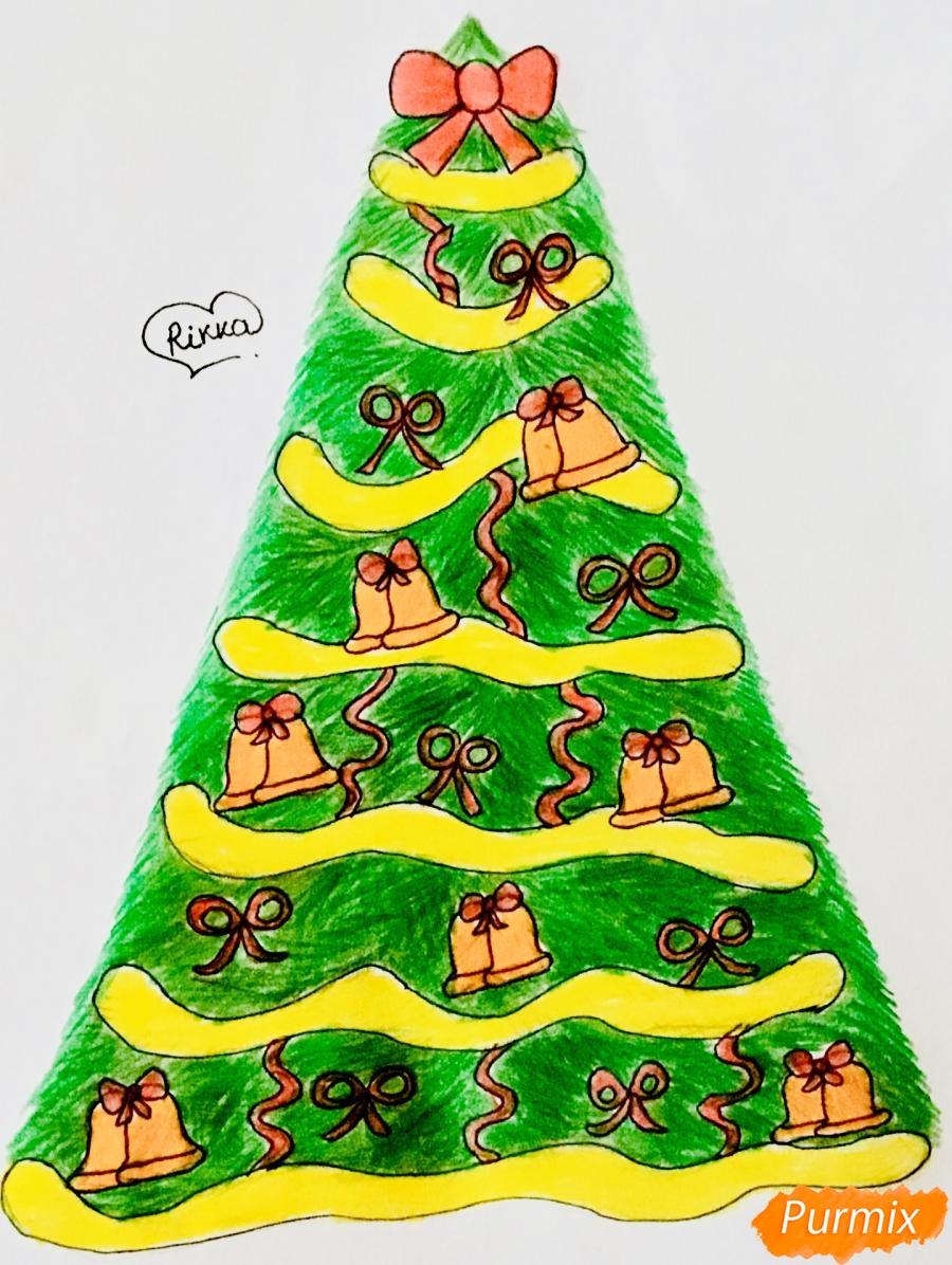 Рисуем новогоднюю ёлку с колокольчиками - шаг 12