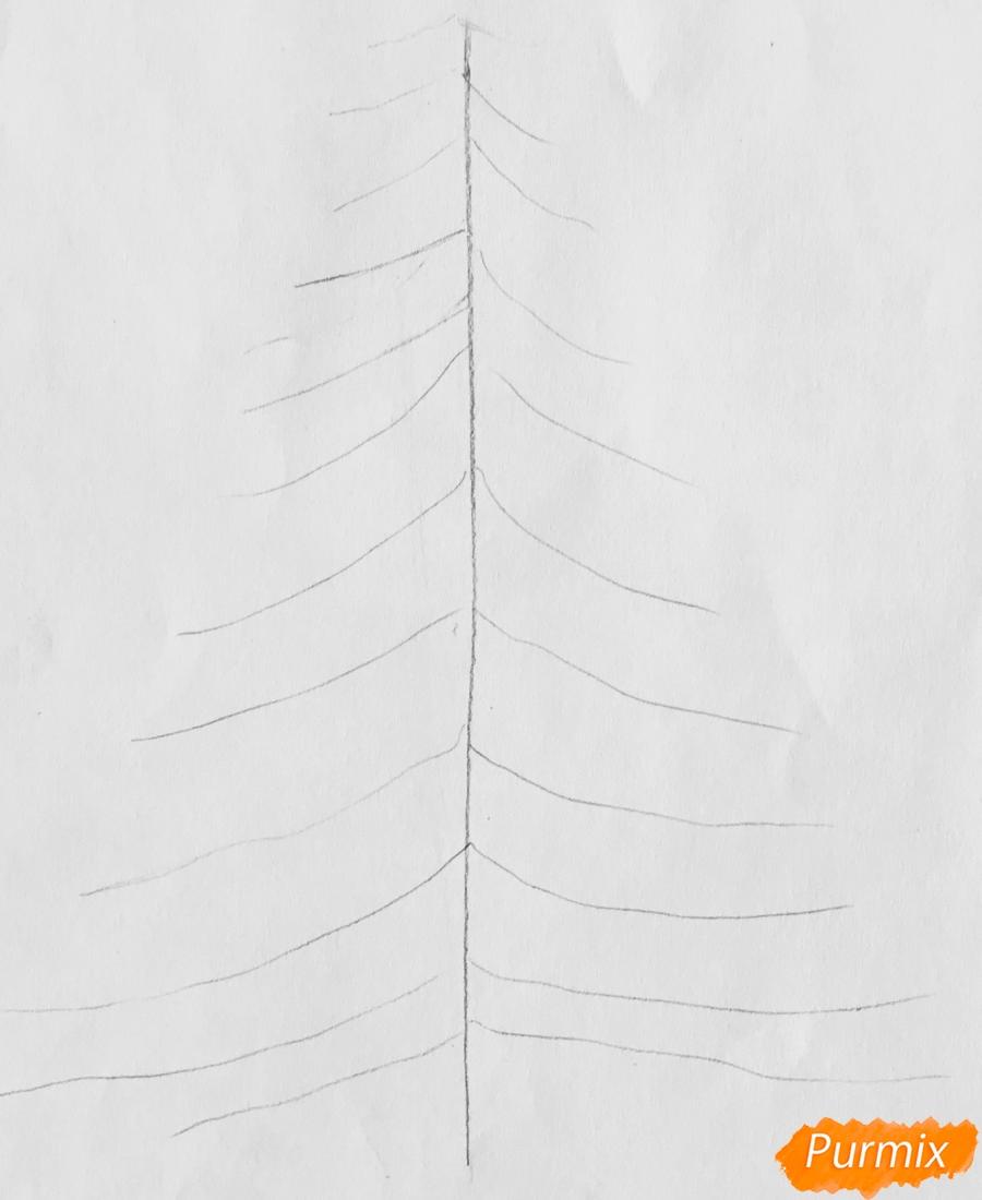 Рисуем новогоднюю ёлку с колокольчиками - шаг 2