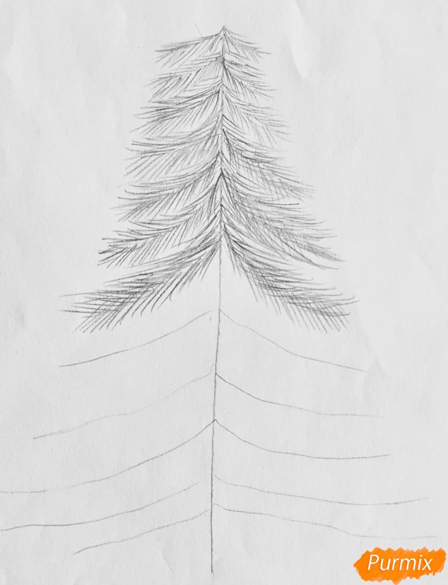 Рисуем новогоднюю ёлку с колокольчиками - шаг 3
