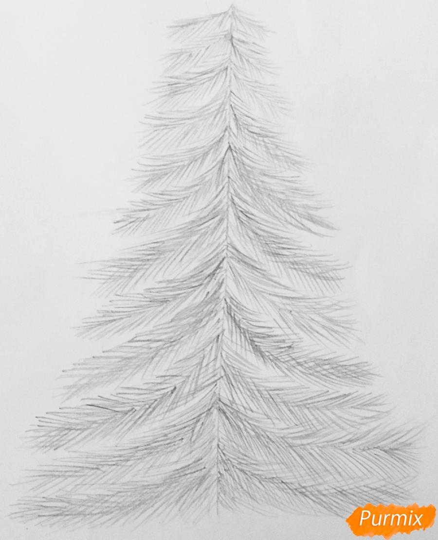 Рисуем новогоднюю ёлку с колокольчиками - шаг 4