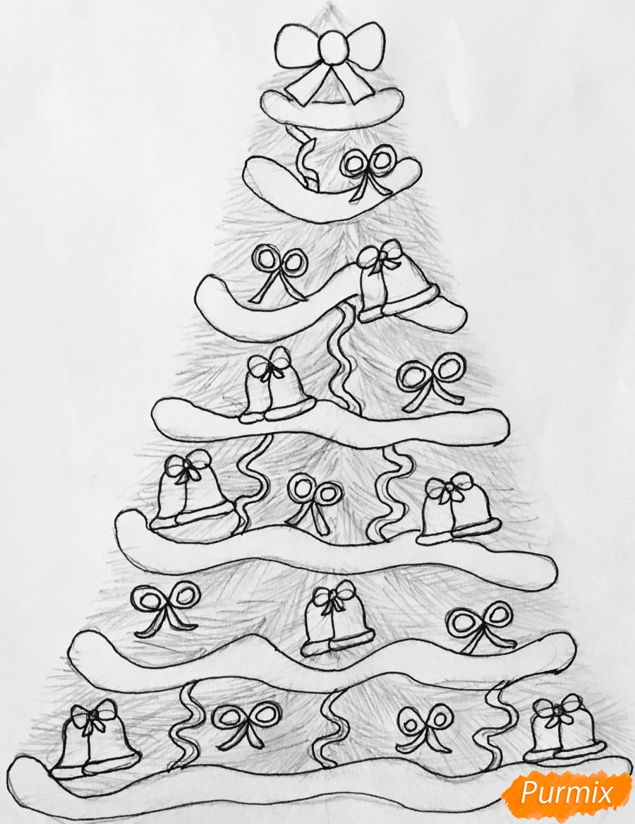 Рисуем новогоднюю ёлку с колокольчиками - шаг 7