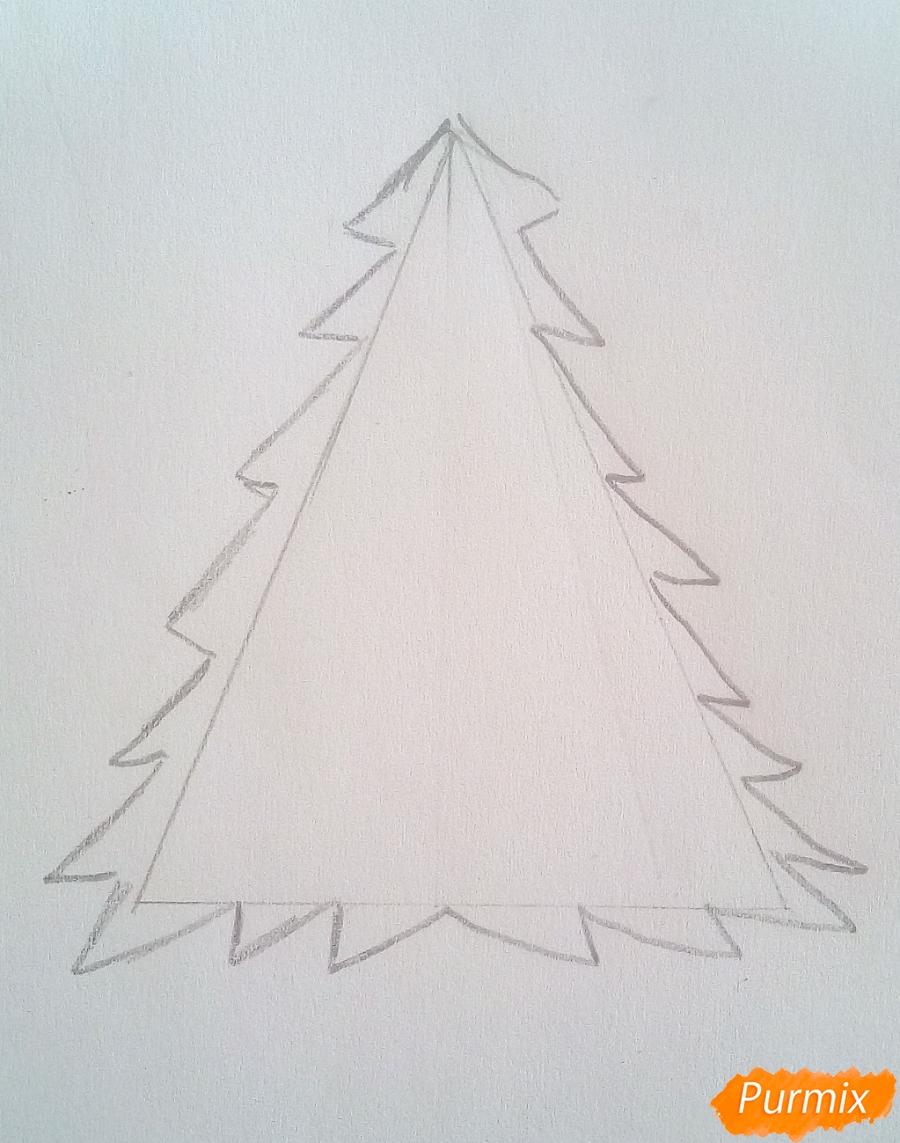 Рисуем новогоднюю ёлку с звездой и игрушками - шаг 2