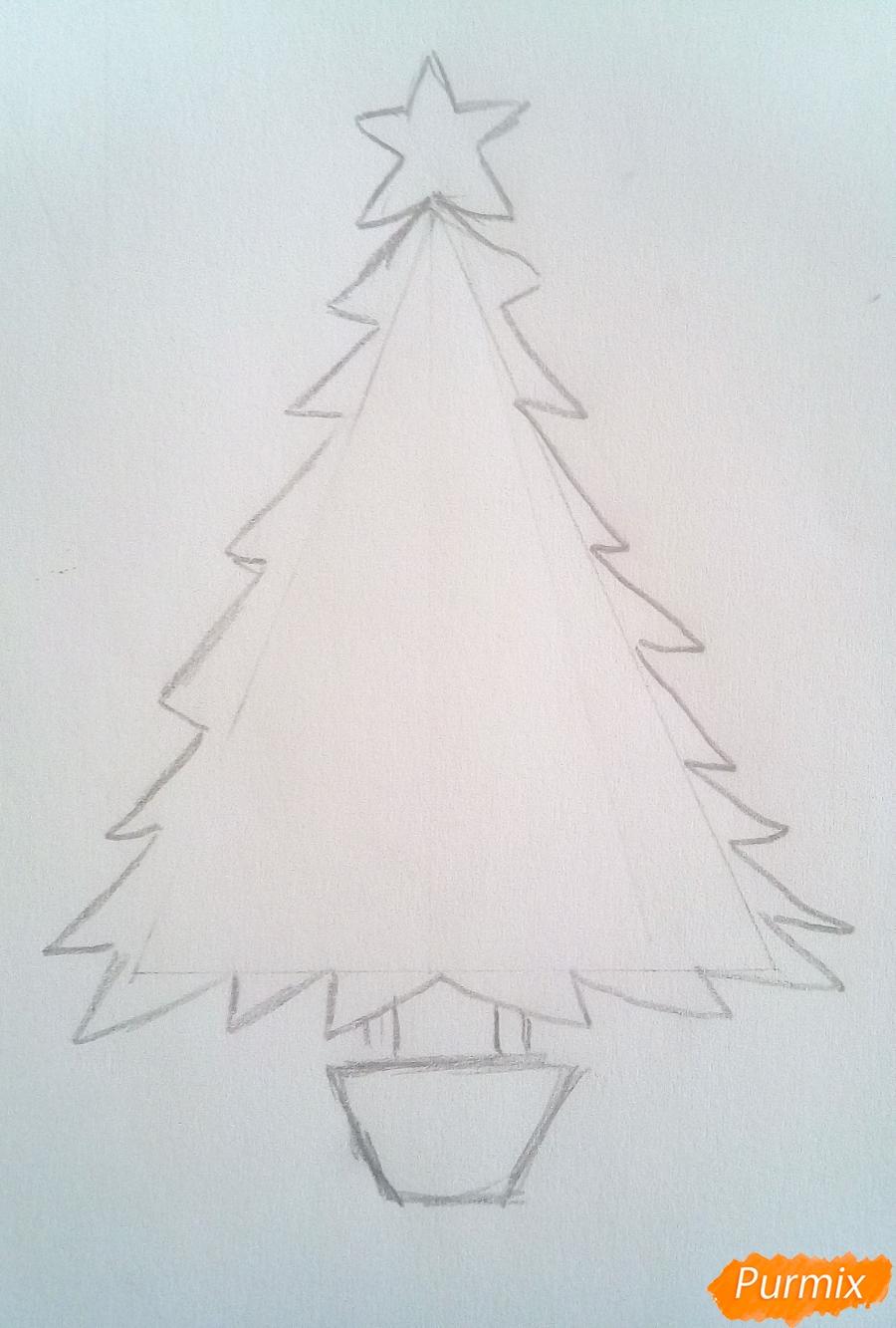 Рисуем новогоднюю ёлку с звездой и игрушками - шаг 3