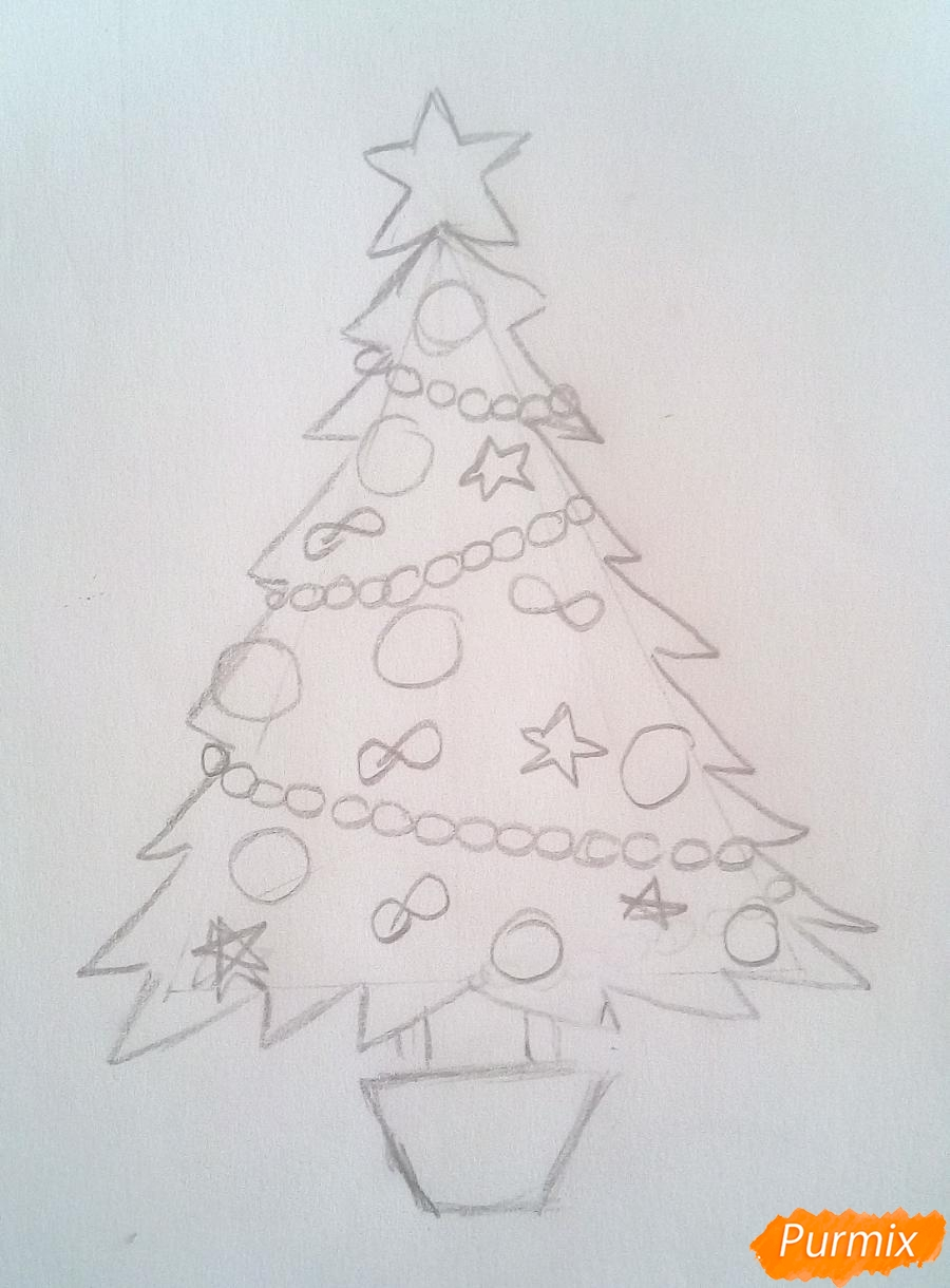Рисуем новогоднюю ёлку с звездой и игрушками - шаг 4