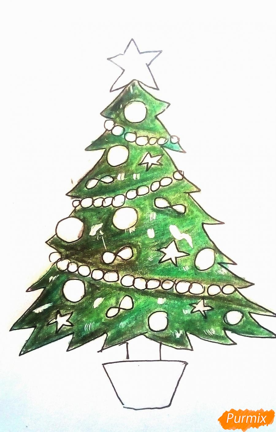 Рисуем новогоднюю ёлку с звездой и игрушками - шаг 6