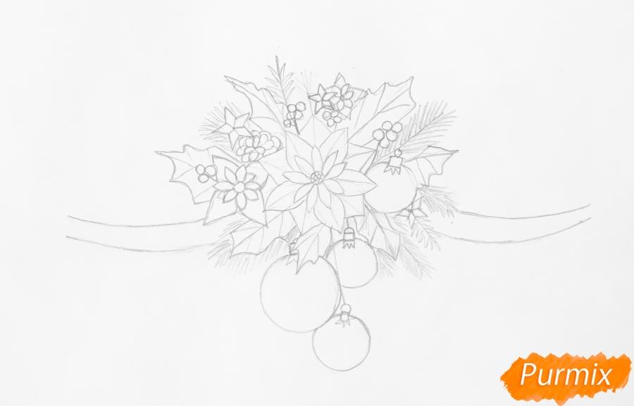 Рисуем новогоднюю гирлянду с игрушками с лентами и колокольчиками - шаг 3