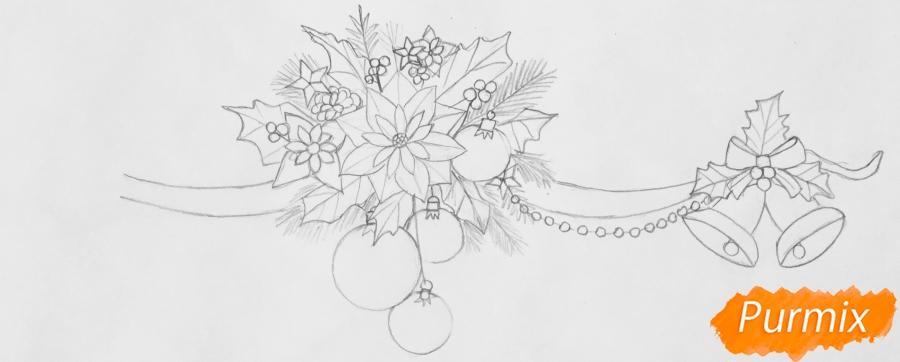 Рисуем новогоднюю гирлянду с игрушками с лентами и колокольчиками - шаг 4
