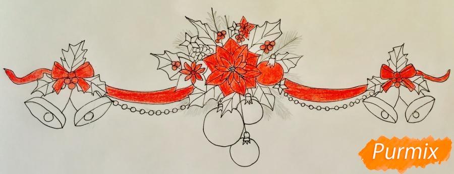 Рисуем новогоднюю гирлянду с игрушками с лентами и колокольчиками - шаг 7