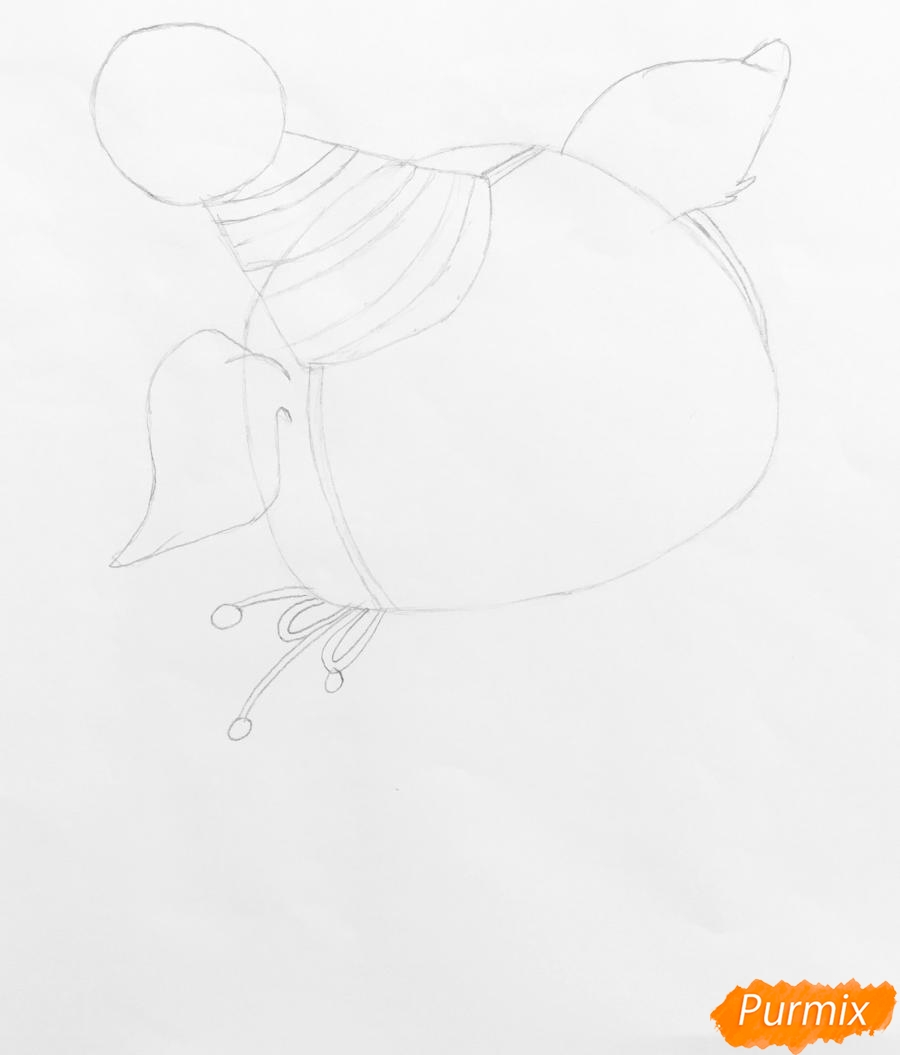 Рисуем новогоднюю свинку в новогодней шапочке и с ёлочкой - шаг 2